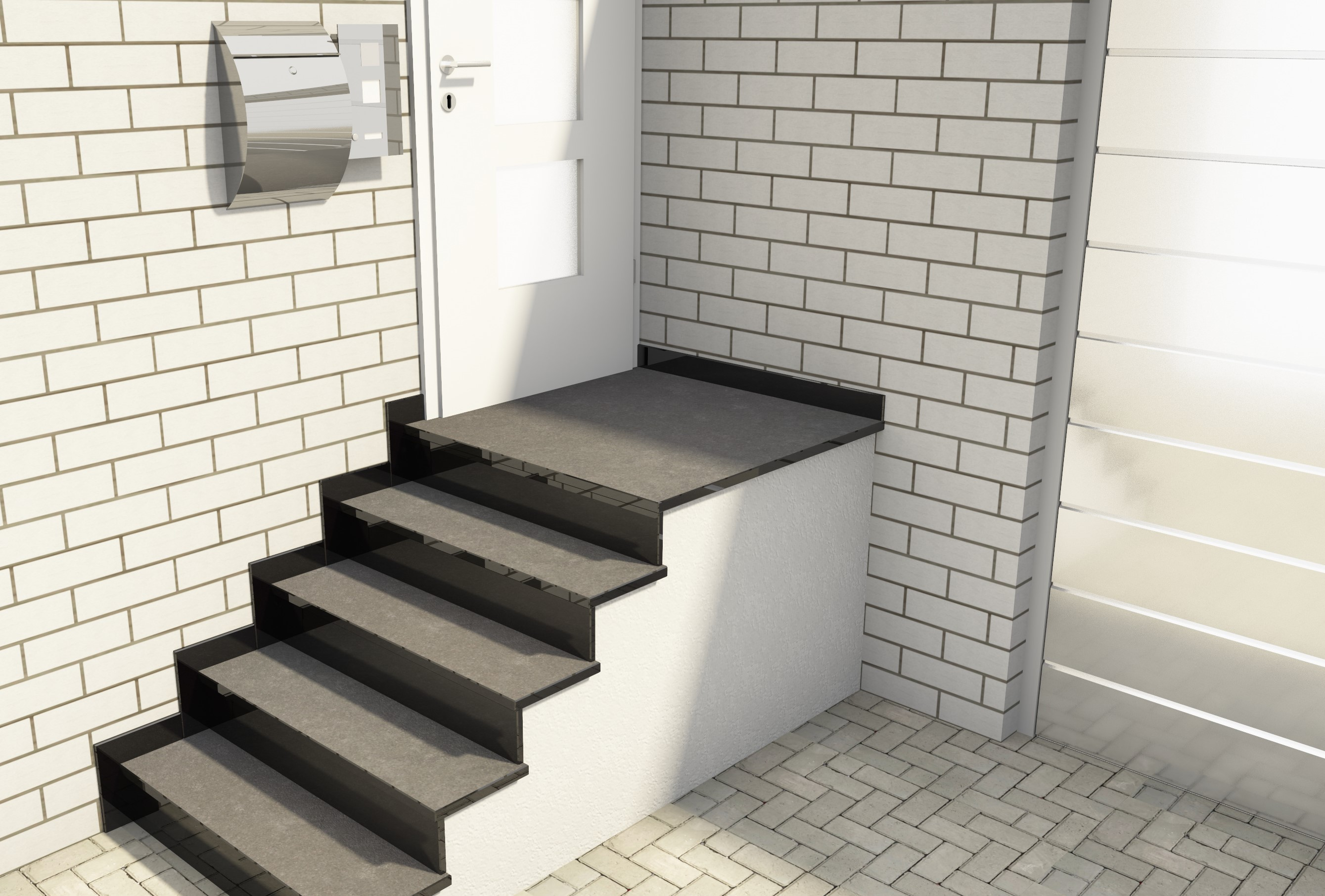 Small Outside Staircase Nero Assoluto From 870 Marble